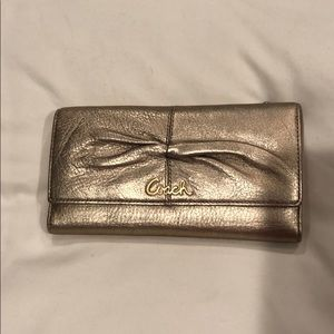 Coach Rose Gold Champagne Metallic Wallet NWT